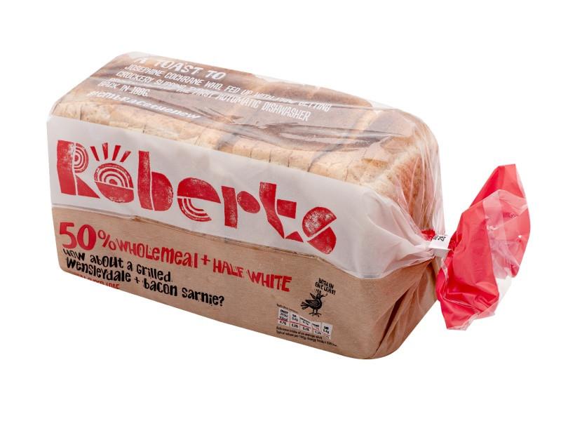 Roberts 50% Wholemeal+Half White Medium Sliced Bread (800g)