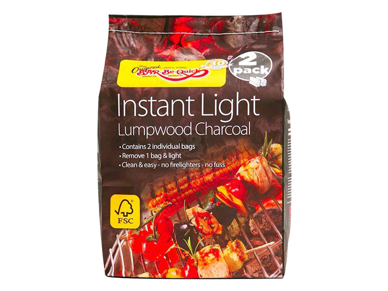 Bar-Be-Quick 2 Pack Instant Lighting Lumpwood Charcoal
