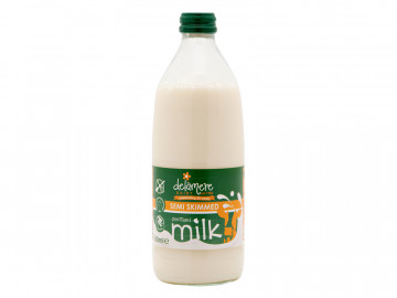Delamere Sterilised Semi-Skimmed Milk - Glass Bottle (500ml)