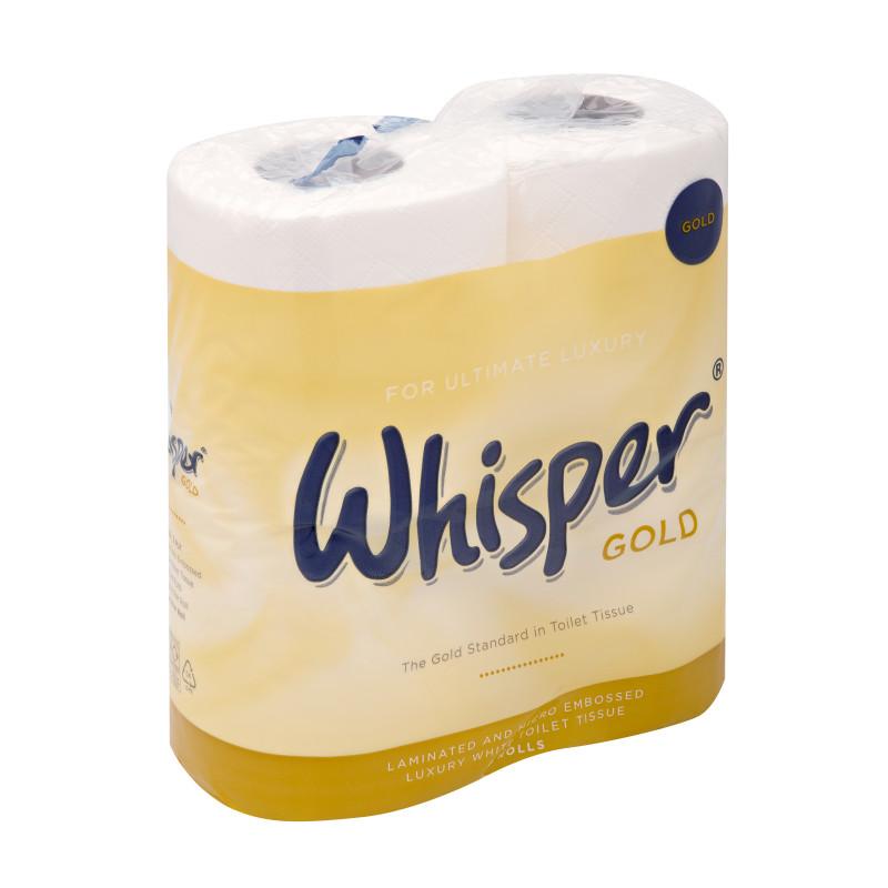 Whisper Gold 3 Ply Toilet Roll ( x 4)